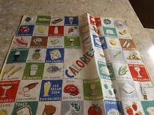 Vintage Tagged Burmel Novelty Hankie Handkerchief Food Calorie Chart 1950's