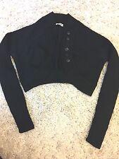 ALAIA Women Sweater Black Crop Small/ Medium  Buttons Bolero Heavy