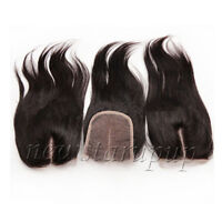 """Straight 100% Brazilian Virgin Human Hair Lace Top Closure 4""""x4"""" Middle Part"""