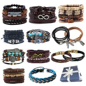Mens Women Real Leather Bracelet Wristband Bangle Punk Beaded Surfer Wrap Gifts