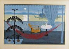 Uruguay River Scene w/ Paddle-boat Acrylic on Paper  by Amalia Nieto (1907-2003)