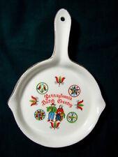 """Vintage Ceramic Miniature 4.75"""" Pennsylvania Dutch Country Skillet Ashtray"""