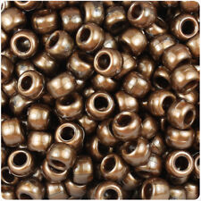 500 Dark Gold Bronze Pearl 9x6mm Barrel Plastic Pony Beads Made in the USA