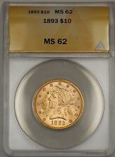 1893 $10 Ten Dollar Liberty Eagle Gold Coin ANACS MS-62 WW