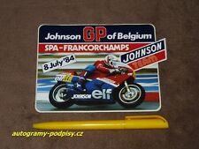 Didier DE RADIGUES - 1984 Johnson GP Belgie Aufkleber/sticker, cca 10x15 cm