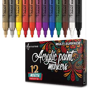 Artistro Paint Pens for rock painting, Ceramic, Porcelain, Glass, Wood, Fabric,