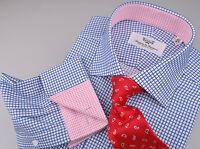 Navy Shepherd Plaid Men's Business Dress Shirt Pink Stars Formal Fashion Apparel