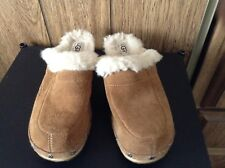 Ugg Australia Women's Size 4 Brown Suede Leather Shearling Clogs Mules