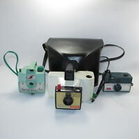 3 Vintage Cameras Polaroid Swinger Kodak Hawkeye Green Imperial Mark Xll Flash