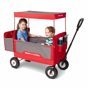 Radio Flyer, 3-in-1 all-terrain EZ Fold Wagon with Canopy, Red