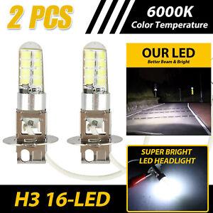 2pcs H3 LED Fog Lights 16-SMD DRL Driving Lamp Bulbs 6000K Bright White 12V-24V