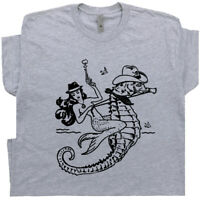 Mermaid T Shirt Cowgirl Vintage Graphic Tee Cool Country Outlaw Retro Seahorse