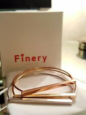 Finery London Jackson D shaped bangles gold, rose gold & silver BN in sealed box