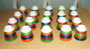 VINTAGE 20 CHRISTMAS TREE LIGHTS SHADES ONLY - MULTI COLOURED RINGS HOOPS