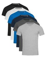 Mens Plain Slim Fitted Body Fit Cotton + Elastane Fashion Tee T-Shirt Vee V-Neck