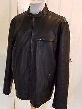 Men's A/X Armani Exchange Black Leather Jacket Zippered Snaps Large Lined