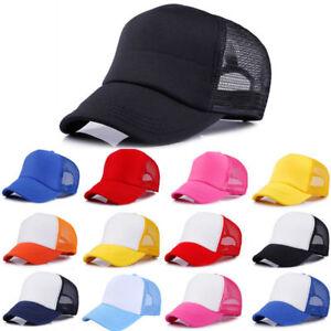 Trucker Hat Baseball Snapback Cap Mesh Hip Hop Flat Solid Adjustable Blank Mens