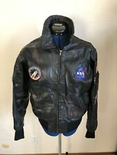 Vintage NASA Alpha Industries Black Leather Bomber Aviator Jacket Men's Small
