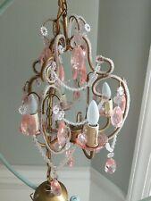 Chandelier Lighting  4 Light Pink beaded  Lamp Ceiling Hanging fixture shabby
