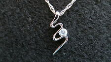 Silver plated Snake Crystal Zircon pendant necklace. 18 inch chain.