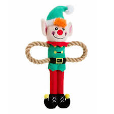 House of Paws Christmas Elf Rope Arm Dog Toy   Medium Festive Tug Squeaky Plush
