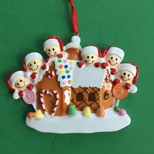 Gingerbread House Christmas Ornament for Family of 6 - Personalized