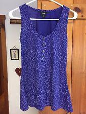 Mossimo Geometric Polka Dot Purple Sleeveless 4 Button Up Size XS