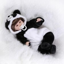 Reborn Baby Doll Silicone Reborn Babies with Cute Panda Outfit Rooted Fiber hair