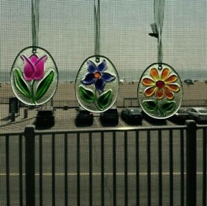 Flower Sun Catchers Trio Set of 3 with Ribbons to Hang - Floral Ornaments Window