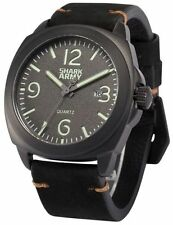 Shark Stainless Steel Genuine Leather Strap Wristwatches