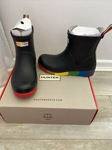 WOMENS GENUINE HUNTER PRIDE Black & Rainbow FESTIVAL FLATFORM WELLIES UK 4