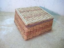 Old Wicker Sewing Basket with Pin Cushion Box & Embroidery Hoop
