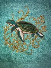 Embroidered Teal Bathroom Hand Towel   Sea Turtle   w Golden Swirls  HS1773