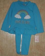New Pretty Infant Girls Blue Sweatsuit Rainbow Sz 12 mos