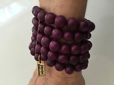 NWOT Maria Oiticica Eggplant Acai Beaded Stretch Bracelet with Metal Spacers