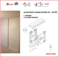 ALUSHAKER NEW BIMAK SLIDING WARDROBE DOOR SET 2 DOORS WARDROBE TRACK KIT SILVER