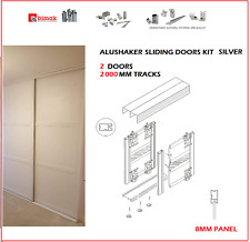 ALUSHAKER NEW BIMAK SLIDING WARDROBE DOOR SET 2 DOORS WARDROBE TRACK KIT SILVER