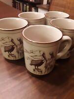 Set of 5 Vintage Pelican Coffee Mugs - Pelicans Perched & in Flight - Dec. 1981