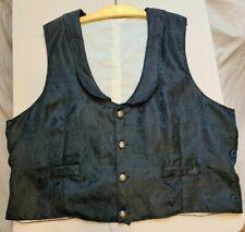 Black Brocade Shawl Collar Vest Civil War Style Size Large