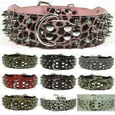 Brand New Leather Dog Collar Spikes & Studs Collars Pit Bull Dog Terrier Boxer