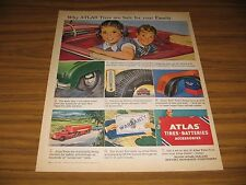 1950 Print Ad Atlas Tires Are Safe for Your Family Happy Kids in Convertible