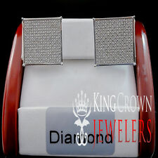 GOLD FINISH GENUINE DIAMOND 0.80 CTW STUD EARRINGS FLAT SCREEN SQUARE SCREW BACK