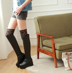 Cow Leather Platform Women Chunky High Heel Over The knee Boots Winter Shoes