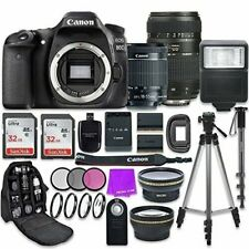 Canon EOS 80D 24.2MP CMOS Full HD DSLR Camera w/ 18-55mm & Tamron 70-300mm Lens