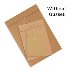 Brown DL C4 C5 C6 Quality String & Washer Without Gusset Envelope Button Tie