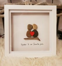 Personalised driftwood & pebble art picture. 15cm frame.Valentines. Mothers day