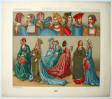 VINTAGE 1800's Color Costume Plate, Fashions of Europe, 15-16th Century, 030
