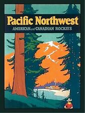 Metal Sign PACIFIC NORTHWEST vintage RETRO Rockies travel Poster Decor