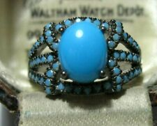 Sterling SILVER Sleeping Turquoise Art Deco Revival RING Size N 6.75