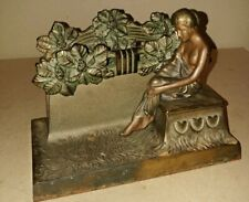 VINTAGE ART NOUVEAU  ART DECO TABLE INKWELL & STATIONARY HOLDER WITH SEXYWOMEN